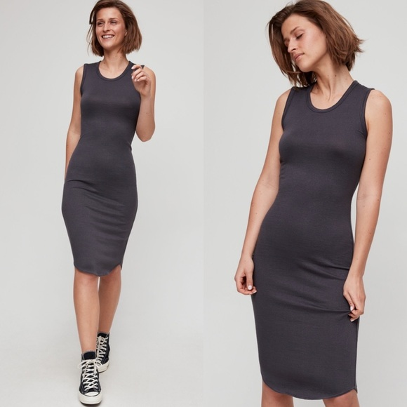 Aritzia Wilfred Free Bruni Dress Grey Marle XXS